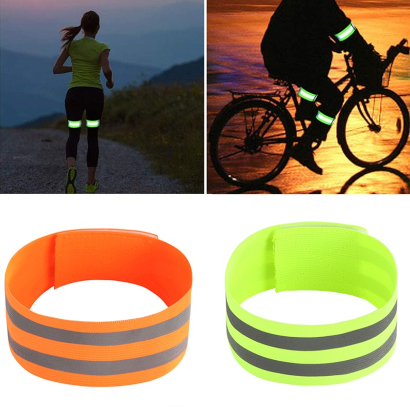 2Pcs Reflective Bands Safety Flashing Armband Belt Glow In The Dark Bracelet For Night Jogging Walking Biking Cycling Running