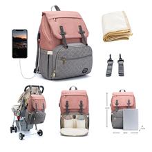 Duża pojemność torba na pieluchy plecak wodoodporna torba macierzyńska torby na pieluchy dla niemowląt z interfejsem USB mumia torba podróżna na wózek tanie tanio CN (pochodzenie) Poliester zipper (30 cm Max Długość 50 cm) Nappy Patchwork