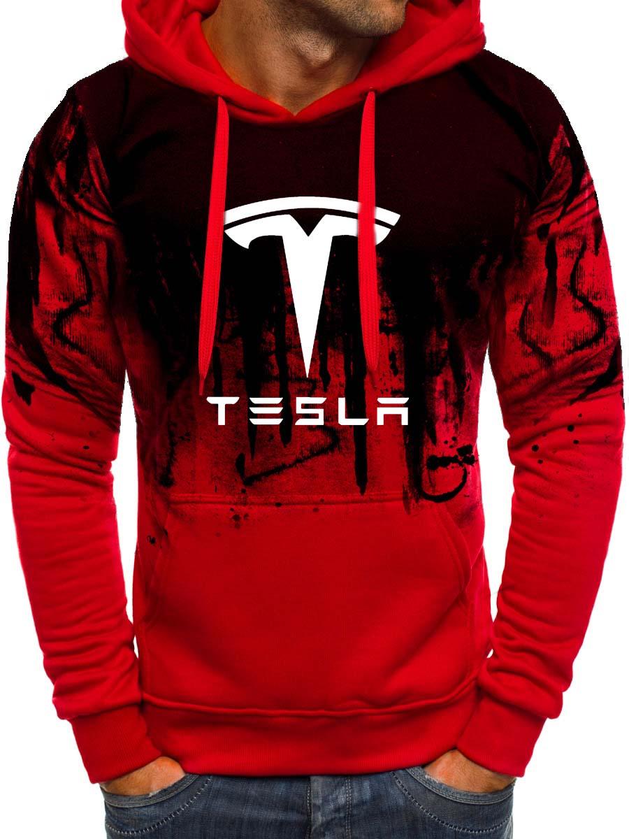Hoodies Men Tesla Car Logo Print Sweatshirt Spring Autumn Gradient Men Hoodie Hip Hop Harajuku Casual Hoody Tracksuit