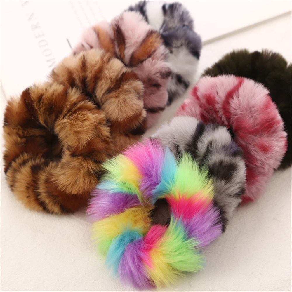 New Fashion Colorful Leopard Print Plush Fur Scrunchies Elastic Hair Bands Warm Ponytail Holder For Women Girl