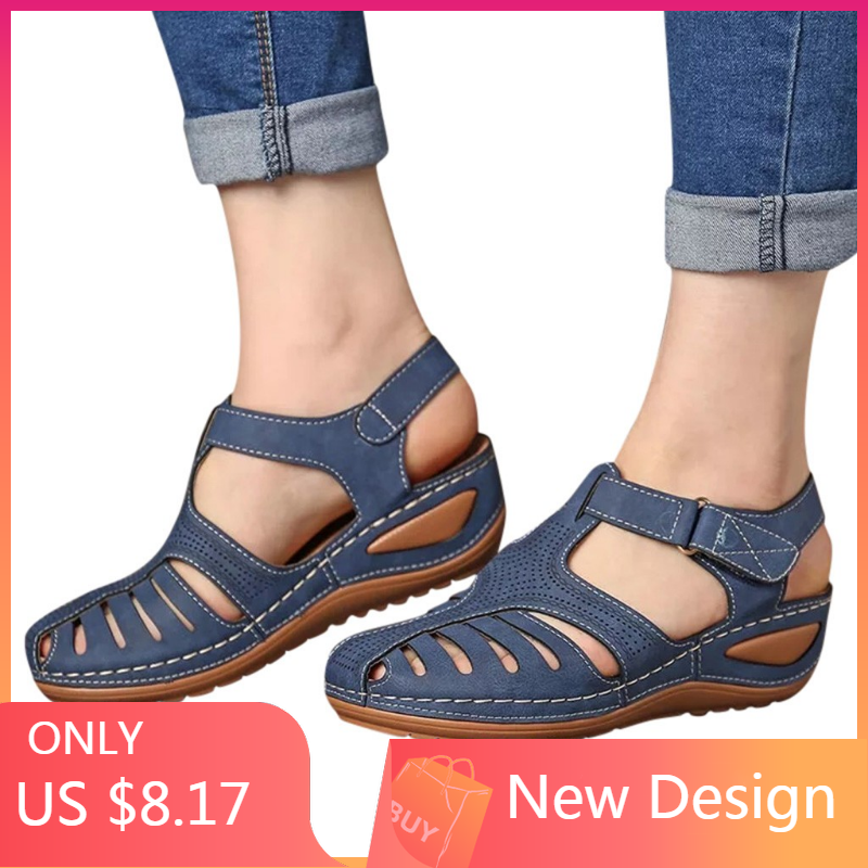 summer sandals women flat Ladies Comfortable Ankle Hollow Round Toe Sandals Soft Sole Shoes sandalias mujer 2019 plataforma#N3