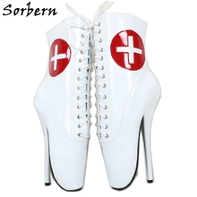 Sorbern אדום צלב לבן פטנט בלט מגפי קרסול גבוהה נעלי נעלי עקב 18Cm תחרה עד לשני המינים בתוספת גודל נעל קצר מגפי ליידי