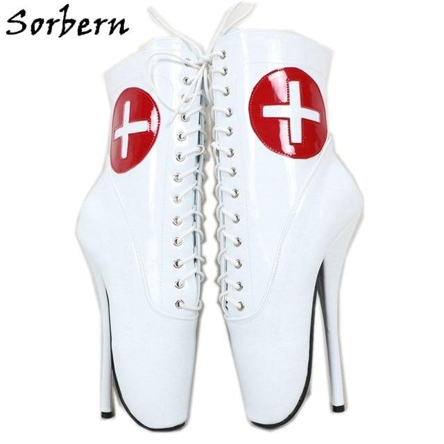 Sorbern kırmızı çapraz beyaz Patent bale botları ayak bileği yüksek patik Stilettos 18Cm dantel Up Unisex artı boyutu ayakkabı kısa çizmeler bayan