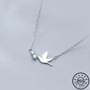Женская подвеска в виде птицы из 100% стерлингового серебра 925 пробы, массивные ожерелья с кубическим цирконием, ювелирные изделия