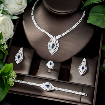 HIBRIDE Trendy White Wedding Jewelry Set Marquise Cut AAA Cubic Zircon Necklace Earring Bracelet Full Set for Women Bijoux N-490