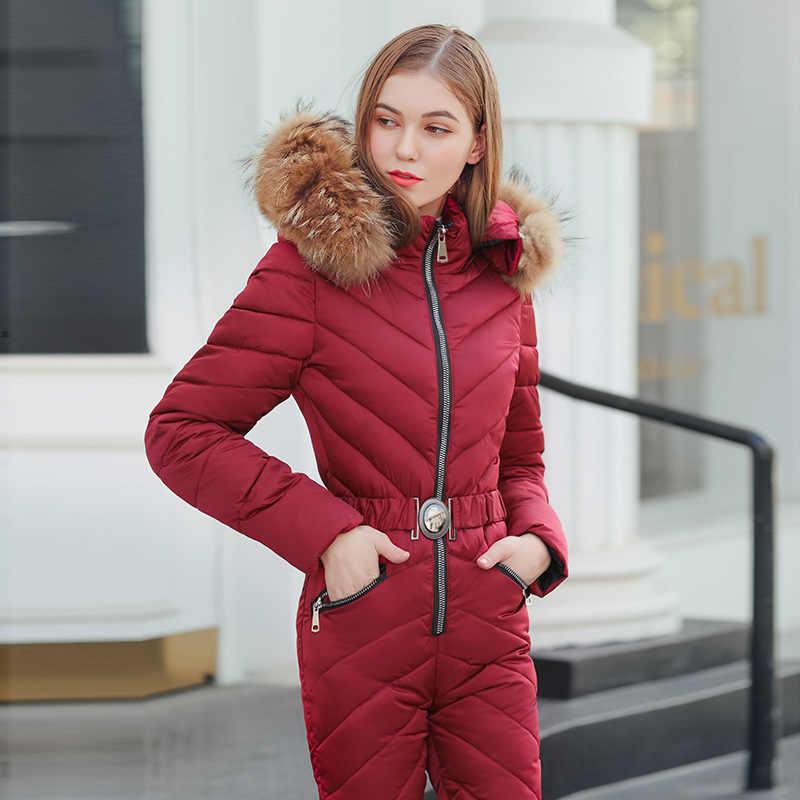 Autumn and winter new one-piece ski suit Women's Sets Siamese cotton suit Korean women's down jacket 2piece set  sweatsuit