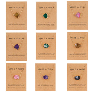 5 Colors Fan Shape Natural Stone Pendant Necklace Quartz Druzy Resin Beads Gold Link Chain Necklace with Wish Card Jewelry Gift