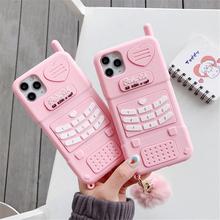 Śliczne różowe serce miłość dziecko dziewczyna prezent etui na telefony dla iphone 12Mini 11Pro Max XR XS Max 6 7 8 Plus SE 2020 miękkiego silikonu tylna okładka tanie tanio APPLE CN (pochodzenie) Częściowo przysłonięte etui W stylu rysunkowym