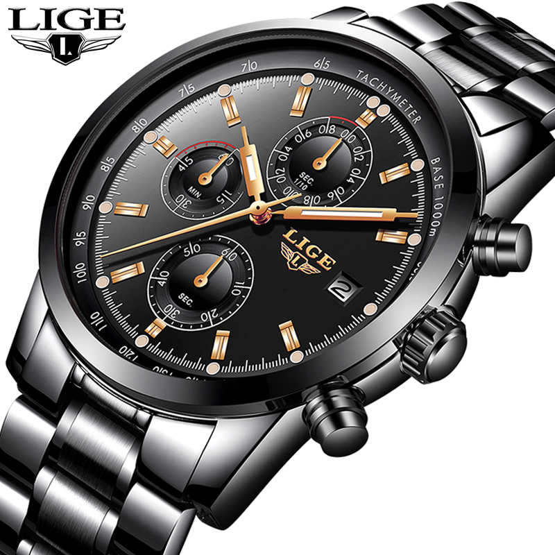 Relojes Hombre 2019 LIGE Business Quartz Watch Men Stainless Steel Waterproof Automatic Date Clock Fashion Military Mens Watches