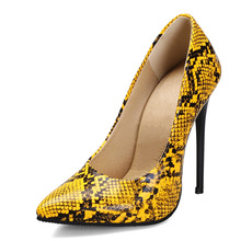 Pumps Shoes Women's Heels High-Heels Yellow Female Large-Size Fashion Woman Party 45