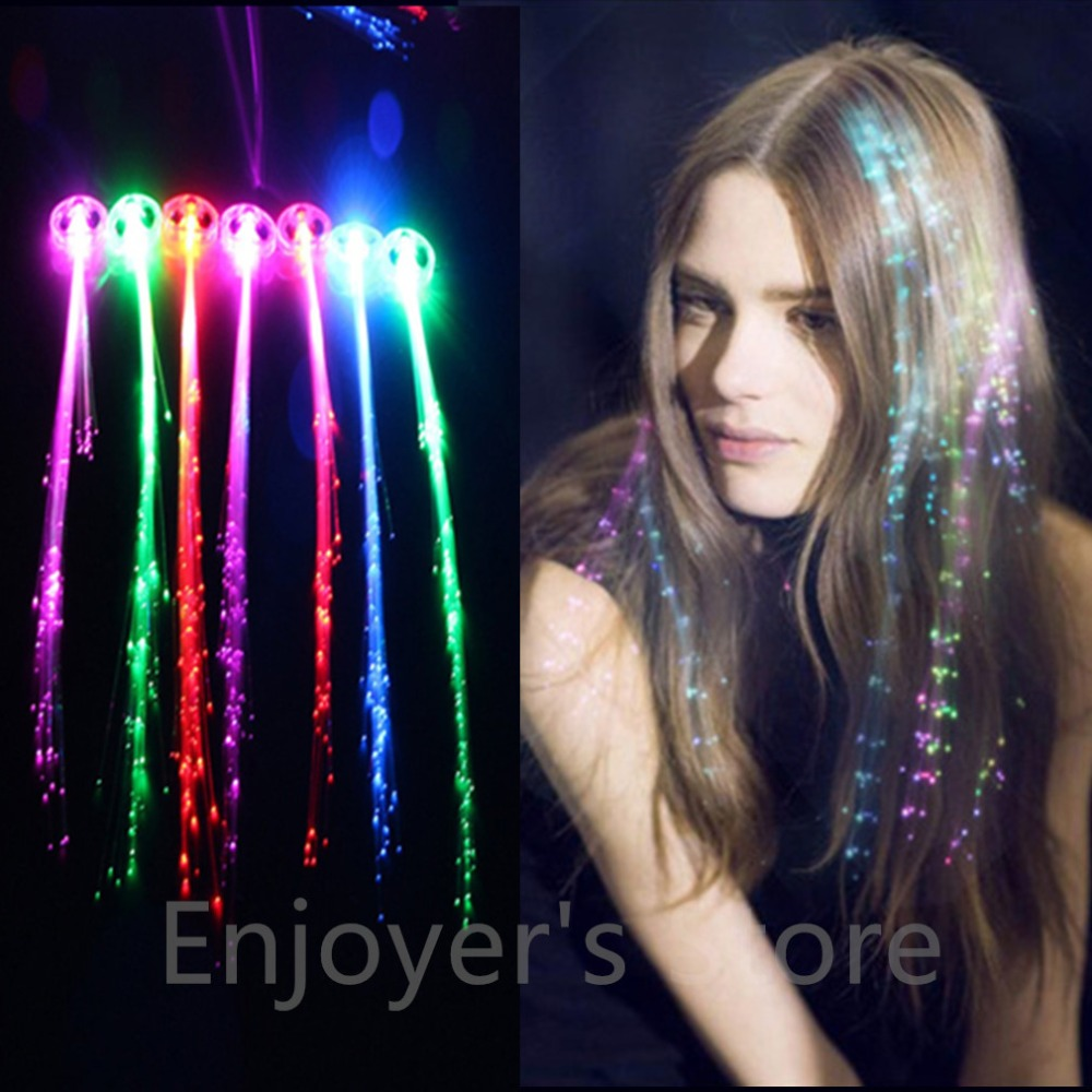 Glow Blinking Hair Clip Flash LED Braid Show Party Toys Kid Headwear Colorful Luminous Braid Optical Fiber Wire HairpinChristmas