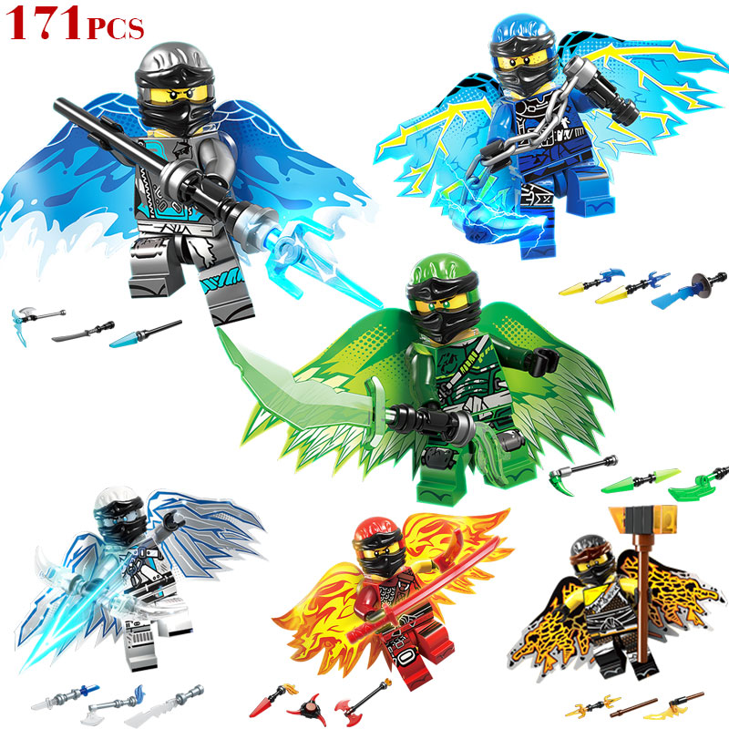 New 6pcs/set Ninjagoed Figures Flying Building Blocks Compatible With Legoinglys Toy Bricks Education Toys For Children Gifts
