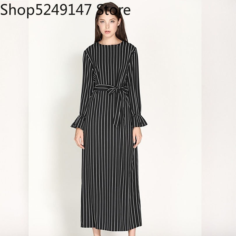 US $10.26 54% OFF|Wechery Womens Striped Long Dress Slim Long Abayas  Islamic Muslim Style Plus Size Black White Turmpet Sleeve-in Islamic  Clothing ...