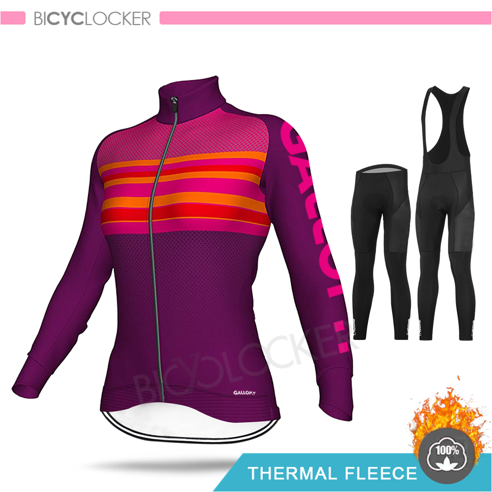 Cycling Clothing Winter ALEING Women Bicycle Jersey Set Thermal Fleece Female Road Bike Uniform Suit Mujer Maillot Wear Clothes