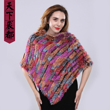 Brand Women Real Rabbit Fur Shawl Natural Real Knitted Real Rabbit Fur Poncho Scarf Autumn Winter Rabbit Fur Pashmina