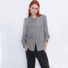 ZA 2019 Herbst Neue Schwarz Weiß Houndstooth Platz Kragen Shirt Mode Casual Frauen Kleidung Lange Hülse Lose Shirt Party Travel(China)