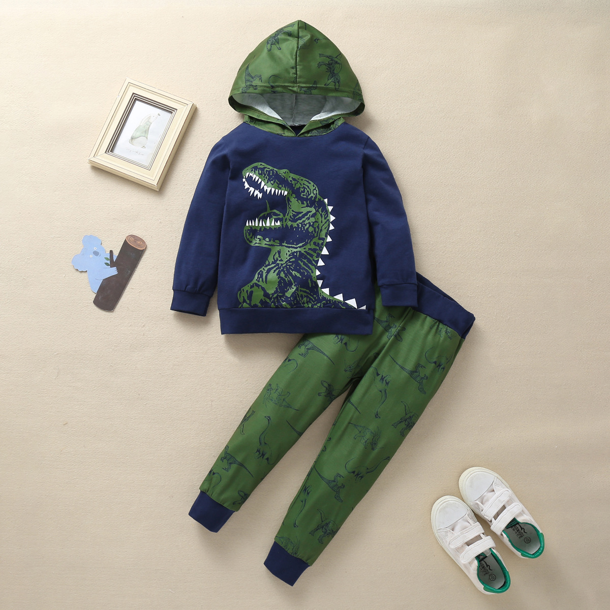 2020 New 1-6Y Autumn Winter Lovely Toddler Baby Girls Clothes Sets 2PCS Dinosaur Sport Cotton Hooded Pullover Black Tops+Pants