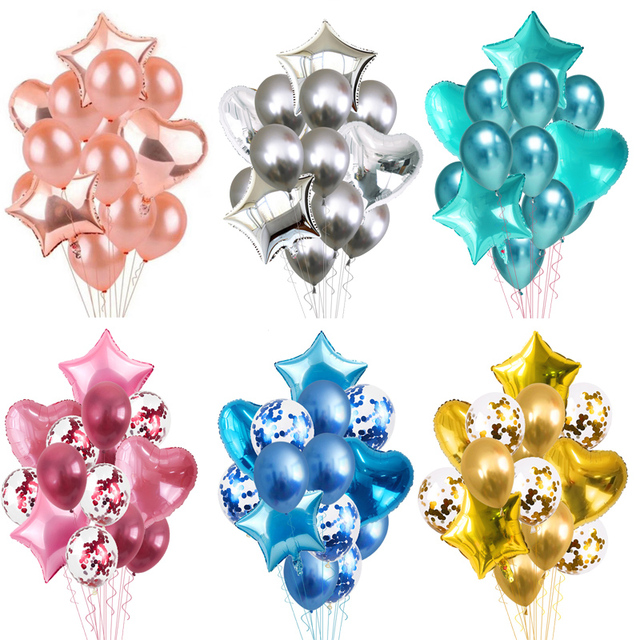 Ballons métalliques 10/14 pièces | Confetti en forme de cœur étoile or pour décoration de fête danniversaire, ballons à Air pour enfants et adultes, décor de mariage