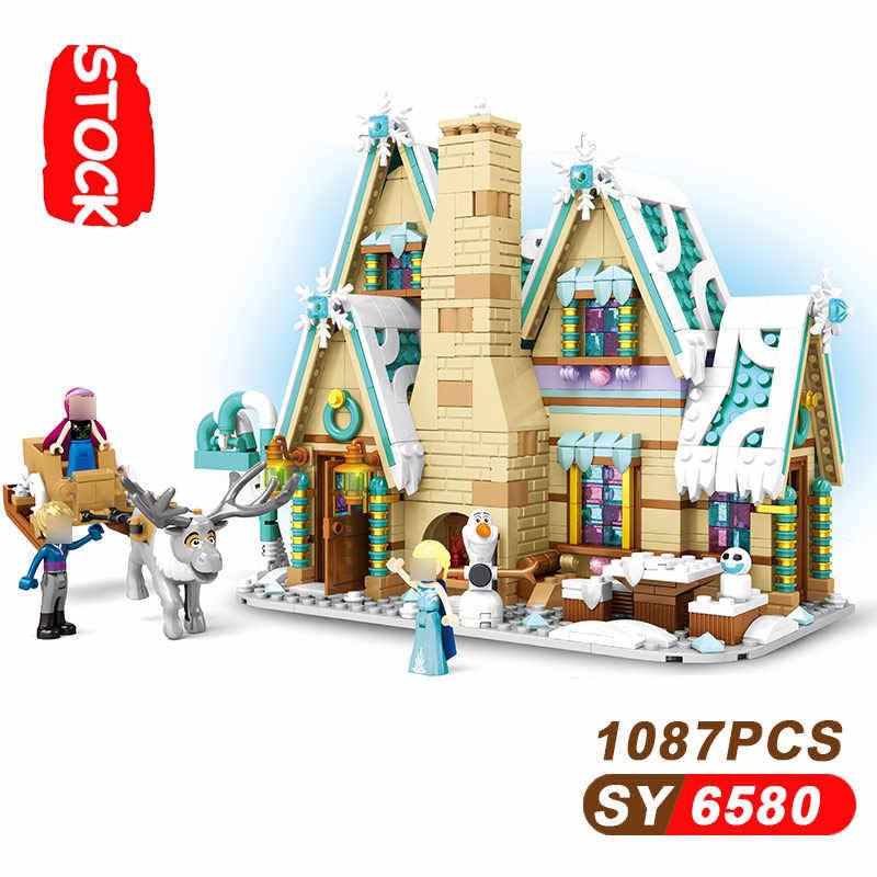 אלזה נסיכת טירת הילדה חברים סדרת אנה אולף עיר Lepining 10267 Frozeninglys 2 Lepinblocks אבני בניין מתנות SY6580