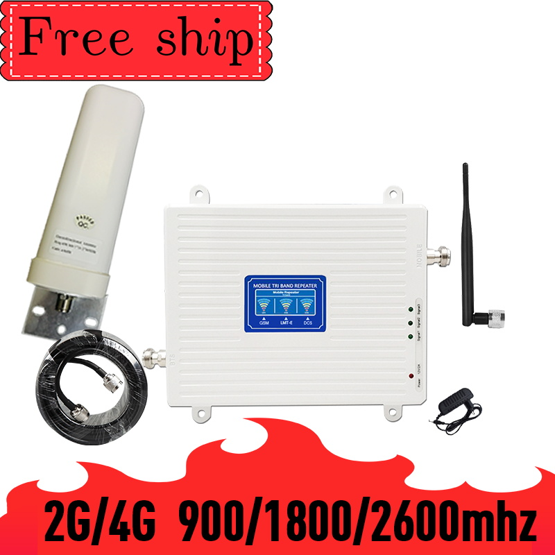 70db Gain 900/1800/2600Mhz 2G 3G 4G Mobile Phone Repeater 4G 2600Mhz Cellular Signal Booster Amplifier 360° Omni Outdoor Antenna