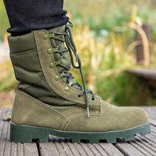 Buty wojskowe męskie buty wojskowe taktyczne buty wojskowe wodoodporne lato zima zielony rozmiar butów 38-46 tanie tanio CQB SWAT Podstawowe Krowa Zamszu ANKLE Stałe Dla dorosłych Mesh Płótno Okrągły nosek RUBBER Wiosna jesień Niska (1 cm-3 cm)