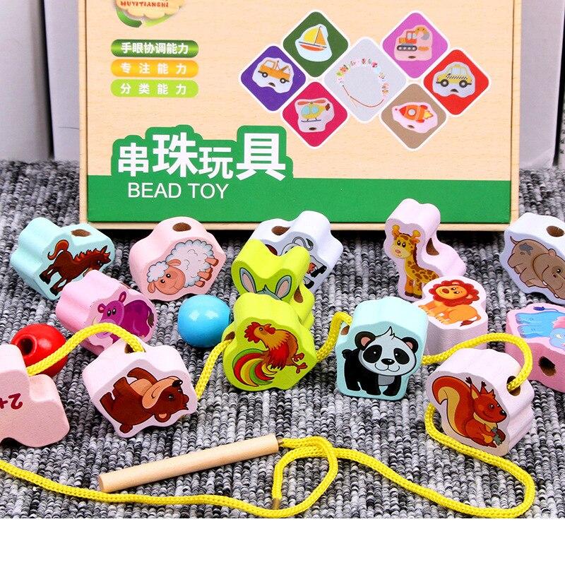 Baby Wooden Beads Toys Cartoon Animal Stringing Threading Wooden Toy DIY Handicraft Monterssori Educational Toy For Children Kid