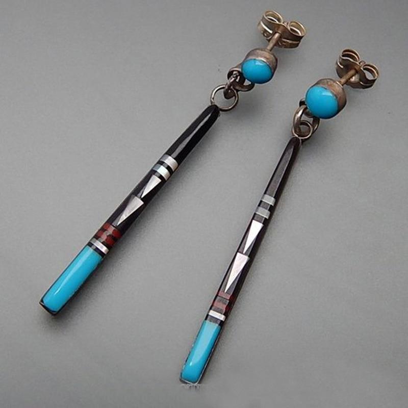Винтажные длинные серьги-подвески с голубым камнем для женщин, этнические ювелирные изделия ручной работы в стиле бохо, этнические серьги ...