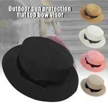 Hot Straw Sunhat Women Summer Beach Wide Brim Bow Sunscreen Outdoor Travel Hat Cap DO2 chic bowknot band irregular brim outdoor sunscreen straw hat for women