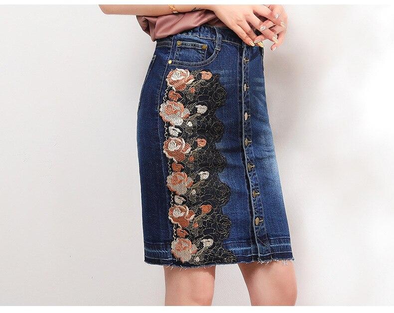KSTUN Women Skirt Summer Fashion High Waist Step Skirt Embroidered Elastic Waist Denim Skirts Woman Single Button Push Up Jeans Skirt 19