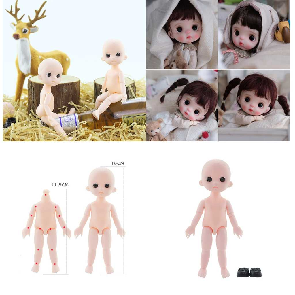 1//12 13 Jointed Moveable Plastic Figure BJD Doll Body DIY Making+Shoes Xmas Gift