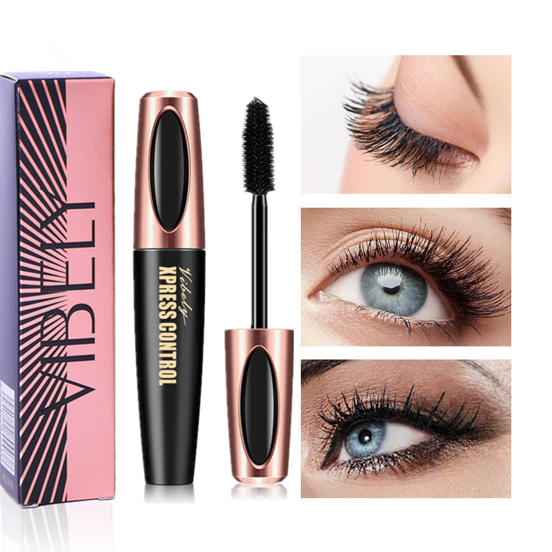 4D Charm Mascara Roll Waterproof Mascara Makeup Silk Graft Growth Liquid Professional Long Curling Waterproof Eyelashes, Black