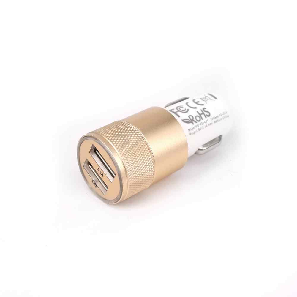 DC 12 V input 5V 2.1A/1A output Dual USB 2 Ports car Charger metal round head car battery charger for phone