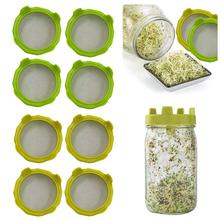4PCS New Sprout Lid Sprout Seeds Strainer For Bean Sprouts Mason Jar Multi-purpose Strainer For Broccoli Sprouts Lentils warmtoo 1pcs 1 5l 220v automatic bean sprouts machine multifunctional homemade sprout double layer kitchen food processors