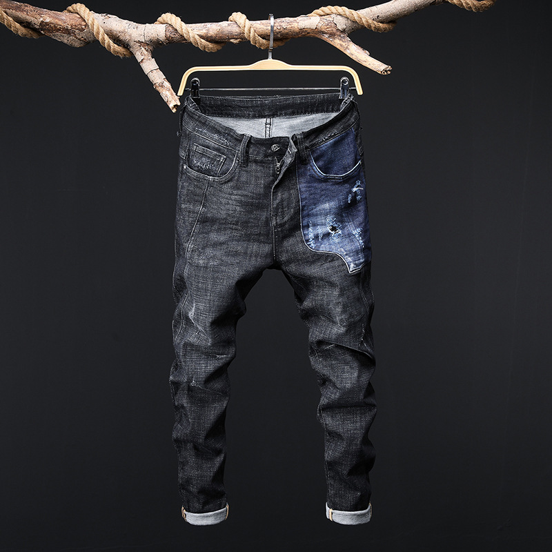 2018 New Style Men Contrast Color Joint Jeans Japanese-style Trend Big Brand Loose And Plus-sized Harem Pants Baggy Pants