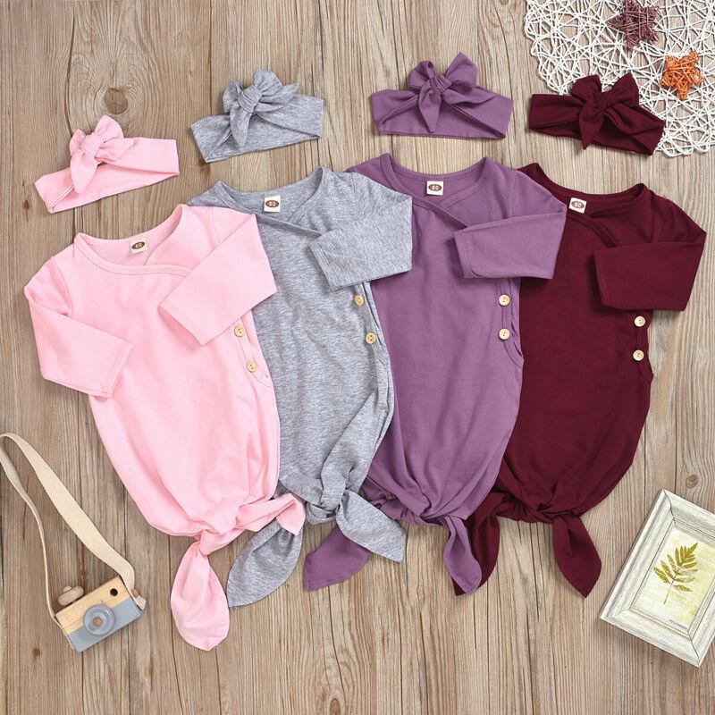 Newborn Baby Kids Autumn Long Sleeve Button Cotton Clothes Swaddle Sleeping Bag Blanket+Headwear