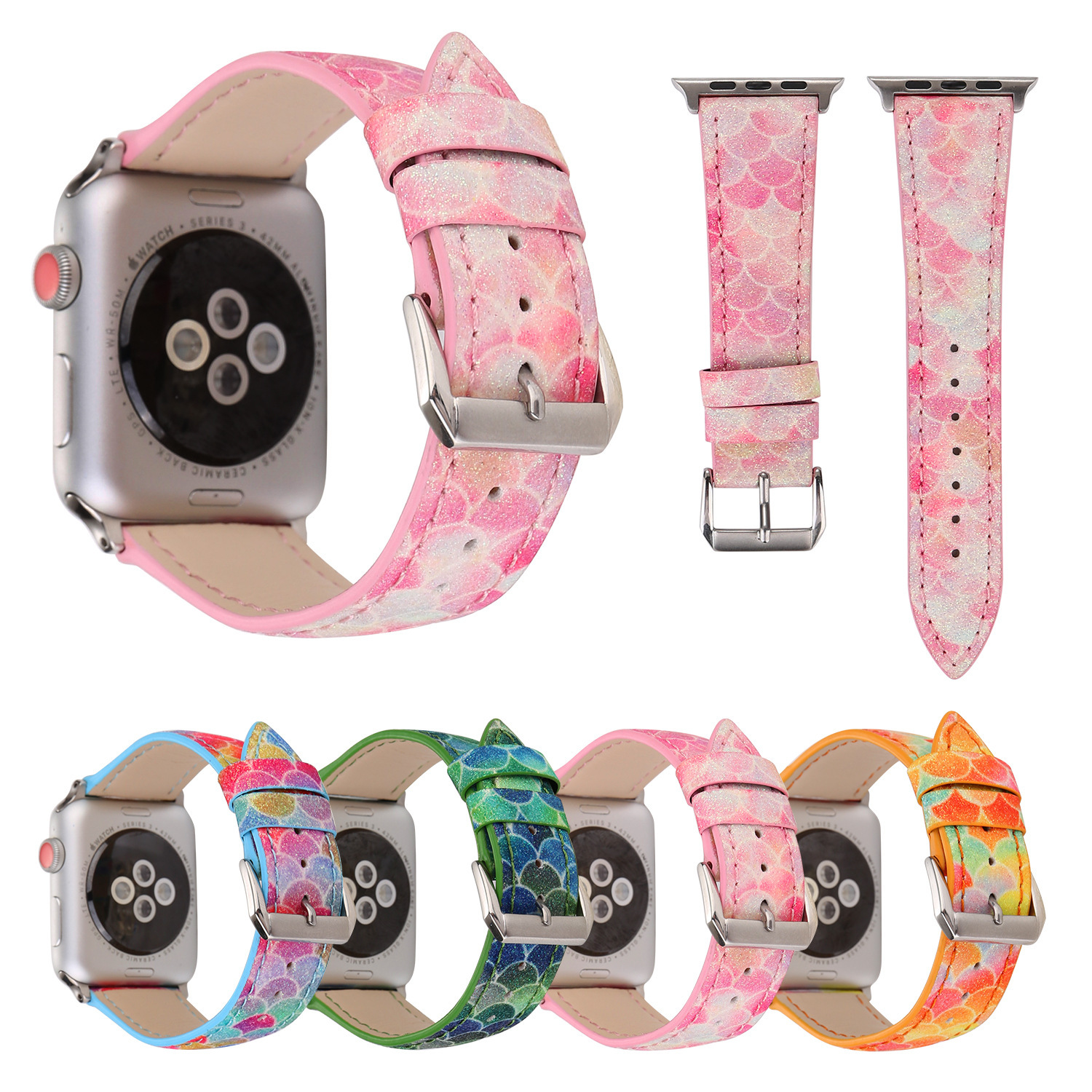 Suitable For Apple IWatch Watch Scale Shimmering Powder Leather Watch Strap Suitable For APPLE Watch Band