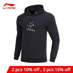 Li-Ning Мужская трендовая толстовка с капюшоном, с принтом, хлопок, полиэстер, спандекс, подкладка, li ning, удобный спортивный свитер AWDP141 MWW1575