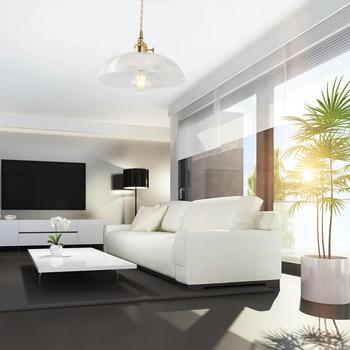 AC 100-240V E27 Retro Vintage Glass Brass Single End Pendant Light Hanging Lamp For Indoor Living room Decoration