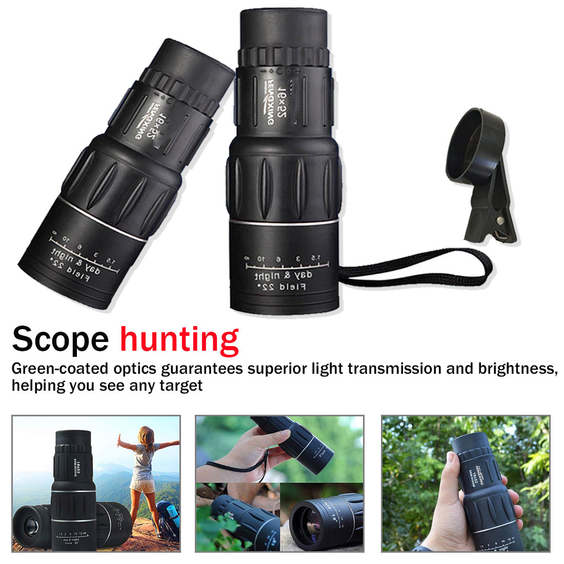 Monocular Powerful Telescope Hiking Night vision Binoculars For Bird-watching HD Optical lens High Magnification