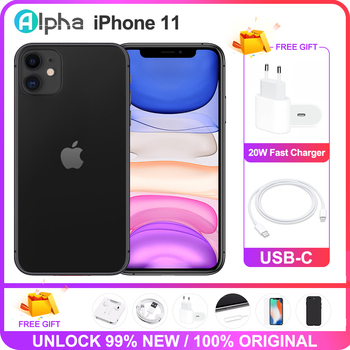 Apple iPhone 11 Used 98% Original Unlock iPhone11 6.1in Face 4+64/128GB 4G LTE Mobile Phones GPS&NFC 12+12MP 1/2 SIM Card A13 1