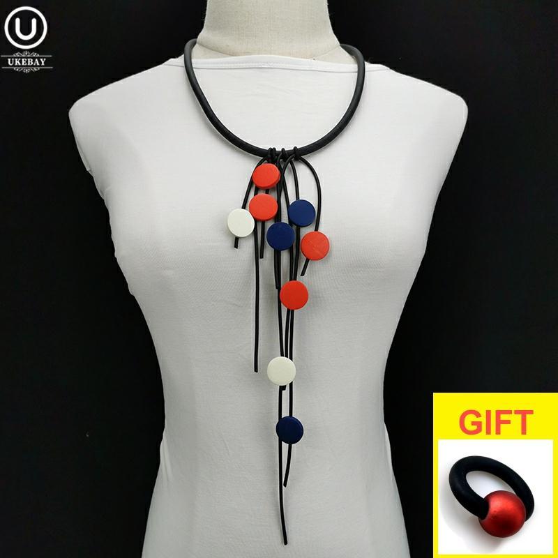 UKEBAY New Designer Multicolor Wood Jewelry Tassel Pendant Necklaces Women Choker Necklace Dress Accessories Jewellery Wholesale