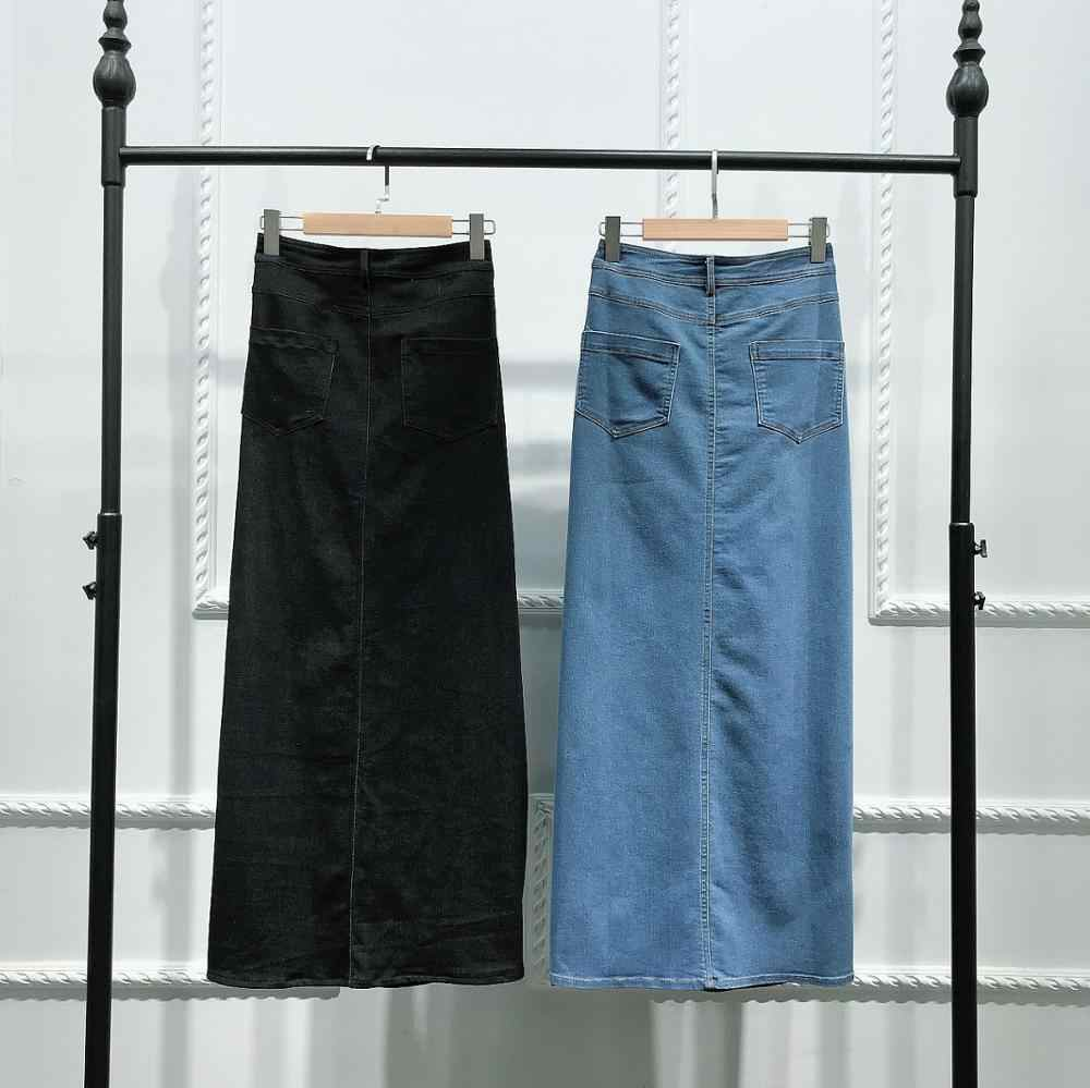 JESDEVICO 2019 Winter Denim Skirt Muslim Women Jeans Skirts Blue Black Long Clothing Islamic Turkish Islamic Middle East Clothes