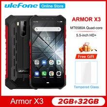 Ulefone teléfono inteligente Armor X3 resistente, Android 5,5, pantalla de 9,0 pulgadas, Quad core IP68, 2GB RAM, ROM 32GB, batería de 5000mAh, procesador MT6580, Android 5V/1A, 3G