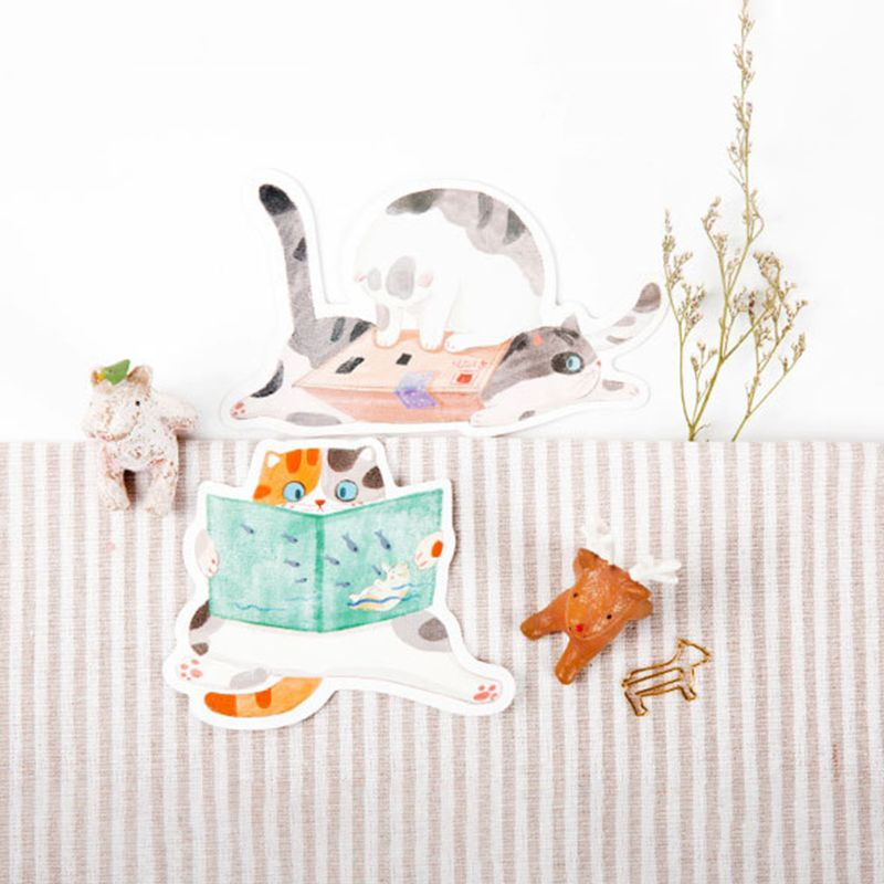 B2RC Postcard Hand-Painted Cat Shape Cat Backyard Cute Hand-Painted Graffiti Style Small Fresh Cute Animal Shaped Card