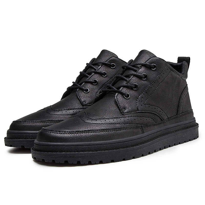 Men Sneakers Soft Leather Casual Shoes Flat Fashion Brand Business Sneakers Men's Gray Shoes Black %0806
