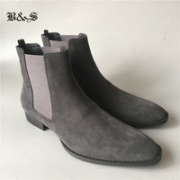 Black& Street SLIM Pointed Toe genuine leather Chelsea Boot plus size 35 47 wedge real Picture comfortable quality Boots
