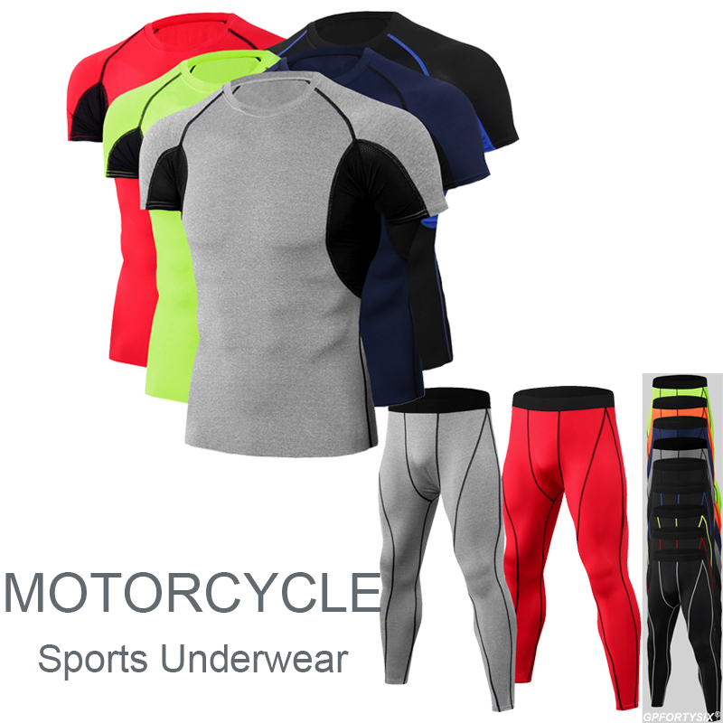 New Motorcycle Thermal Underwear Tops + Pants Set Men's Motorcycle Summer Quick Dry Base Layers Tight Short Sleeve & Pants Set
