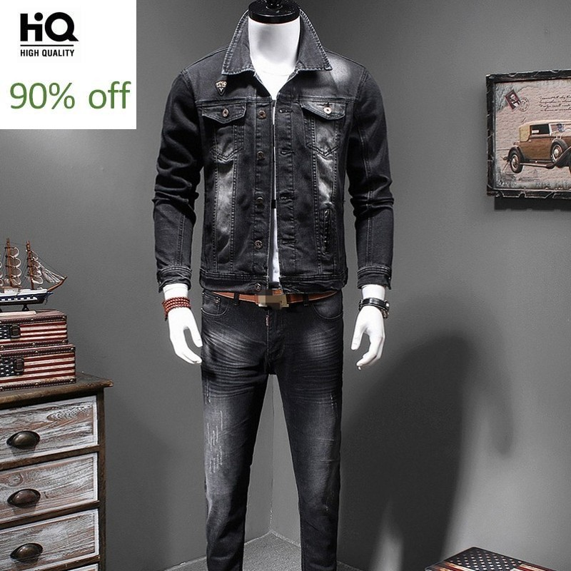 Mens New Denim Two Piece Outfits Fashion Slim Fit Elastic Black Single Breasted Jeans Jacket Full Length Pencil Pants Plus Size