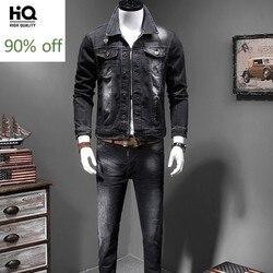 Mens Nieuwe Denim Tweedelige Outfits Fashion Slim Fit Elastische Zwarte Enkele Breasted Jeans Jacket Full Length Potlood Broek Plus size