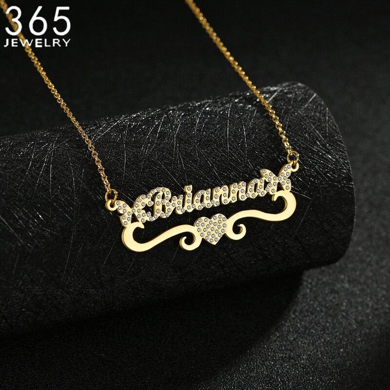 2021New Mode Angepasst Namen Anhänger Halskette Diamanten Nach Namplate Halsketten Edelstahl Personalisierte Mädchen Jewelrys